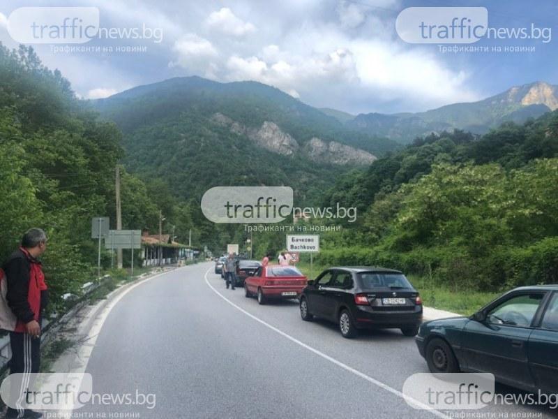 Огромна тапа блокира движението от Бачково към Асеновград