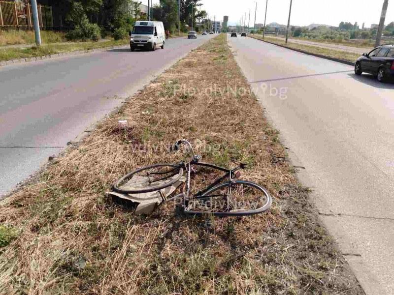 Форд помете велосипедист край Марица, колелото е изхвърчало