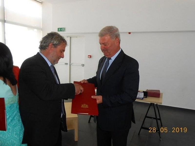 Председателят на читалището в Първомай награден с печат на Симеон Велики