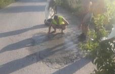 Търпението се изчерпа! Мъже край Първомай сами запълват дупки по пътя