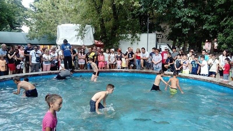 Деца ловиха шарани с голи ръце в басейн на състезание край Пловдив