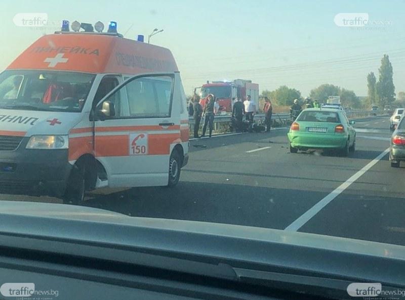 Две катастрофи през няколко метра задръстиха движението по Асеновградско шосе