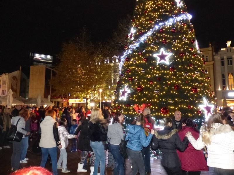 Коледното дърво в Пловдив грейва в понеделник с празнична програма и заря