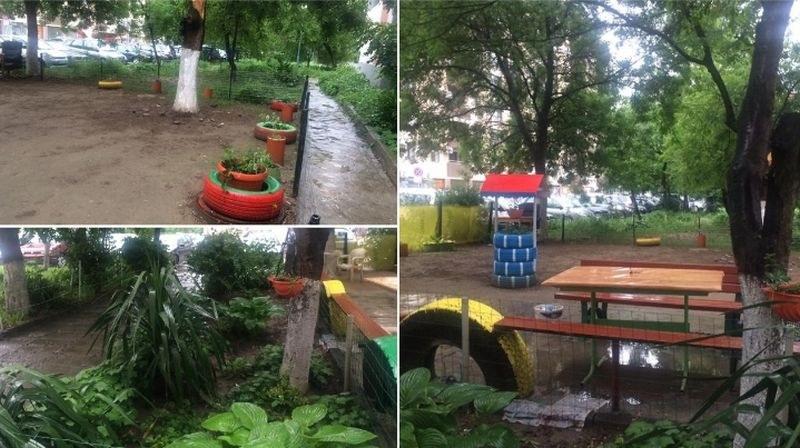 Съседи от Кючука сътвориха градинка за пример пред блока си