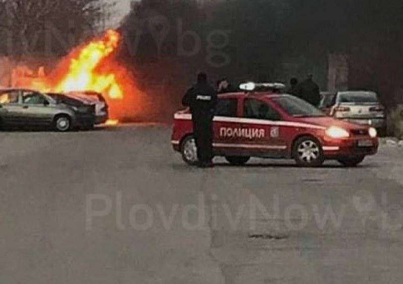 Мъртвопиян шофьор се обърна край Първомай, колата се запали и изгоря