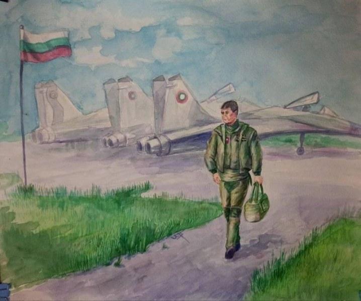 Две 15-годишни деца нарисуваха загиналия пилот Валентин Терзиев, едното от Асеновград